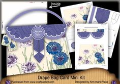 Cornflowers Just for You Drape Bag Card Mini Kit - CraftsuPrint