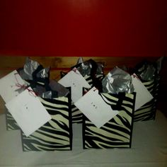 Gift bags for Devon's party guests.