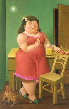 Woman Drinking With Cat by Fernando Botero
