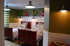Home by Heidi: boys room, valspar bullfrog green, pottery barn kids madras