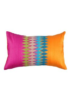 Pink, orange, green, blue ikat embroidered cushion cover - this feels so springy and fresh. I want it.