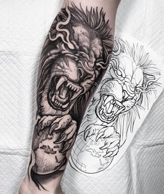 Lion done for João! Thanks a million for getting your first tattoo with me buddy! Nice idea representing his travels around the world 👊🏻…