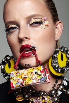 Emoji Girl Emoticon Beauty Editorial with Model Emily Steel, Stickers Covering face, Emoji Girl, emoticons, woman wearing curlers, hair rollers | NEW YORK FASHION BEAUTY PHOTOGRAPHER- EDITORIAL COMMERCIAL ADVERTISING PHOTOGRAPHY