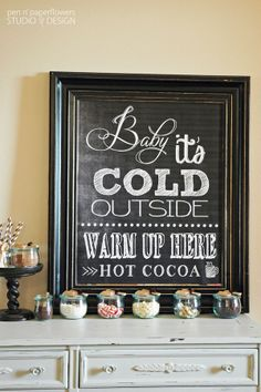 Super simple ideas for putting together a Hot Cocoa Bar!! FREE printables included. Cute things from @Matty Chuah TomKat Studio too! #hotcocoa #hotchocolate