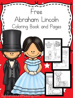 Preschool or Kindergarten Reading or Writing Activity -Abraham Lincoln Coloring Pages and Coloring Book