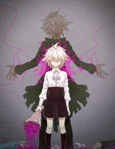 Adopted !! Komaeda . Age 8 . He killed his parents . He is slowly turning into his older brother . A serial killer . He likes the sight of blood and laughs at people getting hurt . He will eventually turn out exactly like his older brother ( in the background ) .