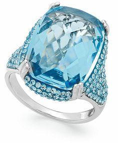 Sterling Silver Ring, Aqua Swarovski Crystal Ring (11-5/8 ct. t.w.)