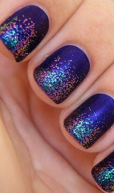glitter tips on purple nails