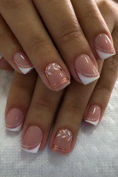 French Manicure Nail Designs, Acrylic Nail Designs, Pink Acrylic Nails, Gold Nails, Fancy Nails, Trendy Nails, Nagellack Design, Chic Nails, Elegant Nails