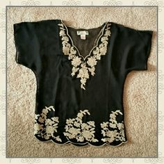 Boho Sheer Festival Tunic Great festival top! Black and cream embroidered caftan tunic styled top.  Size small, fits s/m Flying Tomato Tops Tunics