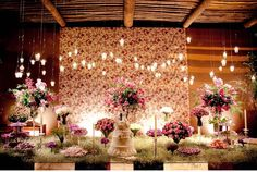 Love the idea of baby's breath as a base on a cake table!
