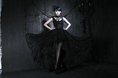 Q-174 Original Design Gothic Palace Flocking Bud Silk Dress Gothic Evening Dress