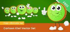 Kiwi Vector, Free Vector Clipart, Vector Shapes, A Cartoon, Clip Art, Cute, Kawaii, Pictures