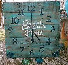 Large, Nautical, Beach house, chic, shabby, pallet wood wall clock. recycled, hand painted,distressed, aqua and navy blues,ocean, upcycled