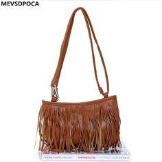 MEVSDPOCA Women Shoulder Bags PU Leather Tassel Handbags Zipper Crossbody Messenger Bag