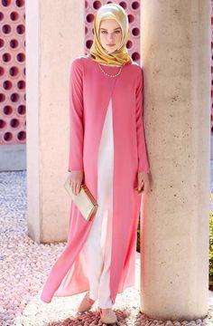Hijab Fashion 2016/2017: Tuğba Şifon Detaylı Tunik F7005 Pembe