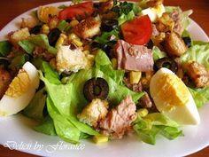 SALATA verde cu ton si crutoane Healthy Salad Recipes, Cobb Salad, Potato Salad, Cooking Recipes, Meat, Chicken, Ethnic Recipes, Desserts, Food