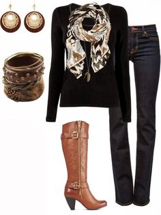 Love the scarf, makes a simple black blouse look like so much more. Not crazy about the jewelry, Don't like the heels on the boots.