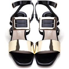 Yoins Black Glossy Finish Buckle Over Block Heel Sandals With Gold... ($41) ❤ liked on Polyvore featuring shoes, sandals, strap sandals, black block heel sandals, buckle sandals, gold block heel sandals and gold strappy sandals