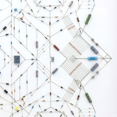 Technological mandalas made from soldered computer and radio components by Leonardo Ulian...