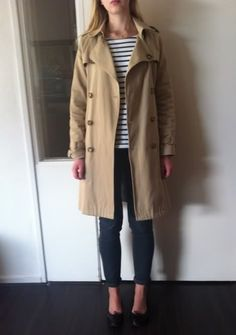 A.P.C. trench coat, Petit Bateau top, Cheap Monday jeans, Repetto flats