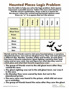 Halloween Fourth Grade Puzzles & Sudoku Worksheets: Haunted Places Logic Problem Math Logic Puzzles, Math Worksheets, Printable Worksheets, Logic Games, Seasons Worksheets, Grid Puzzles, Therapy Worksheets, Budgeting Worksheets, Free Printables