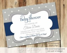 Baby Shower Invitation - Bold Dots - Navy, Dark Blue, Gray Grey - Baby Boy - PRINTABLE INVITATION DESIGN. $18.00, via Etsy. by mitzi