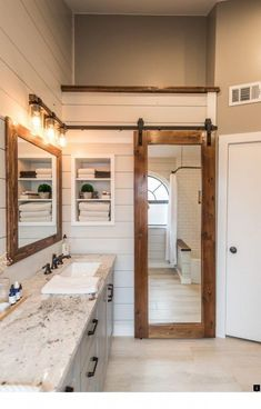 Then you may select your small bathroom design style and make an efficient space of your own. Your bathroom is a significant portion of your house, just like your kitchen or your bedrooms. Farmhouse Bathroom Mirrors, Modern Bathroom, Bathroom Ideas, Bathroom Cabinets, Bathroom Organization, Farmhouse Vanity, Primitive Bathrooms, Farmhouse Renovation, Narrow Bathroom