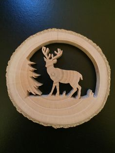 Details About Reclaimed Tree Slice Deer Tree Christmas Window Wall Ornament - Weihnachten Wooden Christmas Tree Decorations, Christmas Wood Crafts, Hanging Christmas Tree, Christmas Ornaments, Wall Ornaments, Ornament Crafts, Deer Ornament, Intarsia Wood, Tree Slices