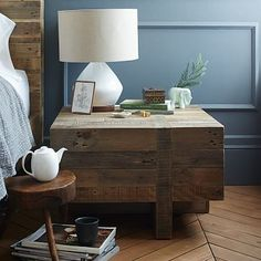 Rustic meets relaxed. Made of FSC®-certified reclaimed pine that shows the knots and imperfections of its previous life, the Emmerson® Block Side Table is a rustic-cool, functional addition to your living room or bedside. • 26