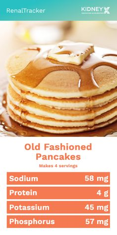Kidney-Friendly Pancake Recipe We give you an easy pancake recipe you can add to your renal diet. Knowing what kidney foods to eat and avoid could help in delaying dialysis by controlling your nutrient intake. Low Potassium Recipes, Low Sodium Recipes, Kidney Recipes, Kidney Foods, Davita Recipes, Kidney Health, Low Sodium Desserts, Low Sodium Snacks, Low Sodium Bread