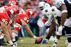 Kansas City Chiefs vs Dallas Cowboys...can't wait for this game in our house!!!  Girl=Cowboy fan Boy=Chiefs fan