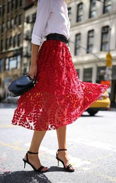 Red lace applique tulle midi skirt, classic white button down, ankle strap black sandals + studded waist belt {M2Malletier, H&M, Theory, creative office style, classic dressing}