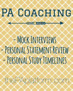 PA Coaching Services - ***Repin this post and email thepaplatform@gmail.com for 20% off any service!!