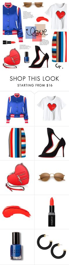 """Solid Love"" by lisalockhart ❤ liked on Polyvore featuring AMIRI, MARC CAIN, Christian Louboutin, Rebecca Minkoff, Smashbox, Bobbi Brown Cosmetics, stripesonstripes, PatternChallenge and MyFaveTshirt"