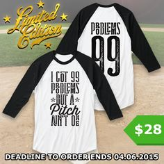 http://teespring.com/99-problems-mom The ultimate must-have for all the Baseball Moms out there! Only available for a LIMITED TIME, so get yours TODAY! Keep in mind this design is NOT SOLD IN STORES, and only in our webshop.