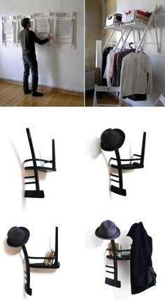 Most Creative Closet Designs - closet designs, closet design ideas Closet Designs-Make your own unique shelves with decorative hanging folding chairs.Closet Designs-Make your own unique shelves with decorative hanging folding chairs. Armoire Design, Creative Closets, Unique Shelves, Large Shelves, Diy Home Decor, Room Decor, Old Chairs, Folding Chairs, White Chairs