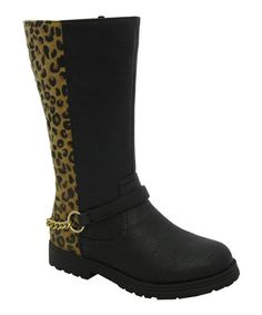 Take a look at this Tan Leopard Chain Claudia Boot by Yokids on #zulily today!