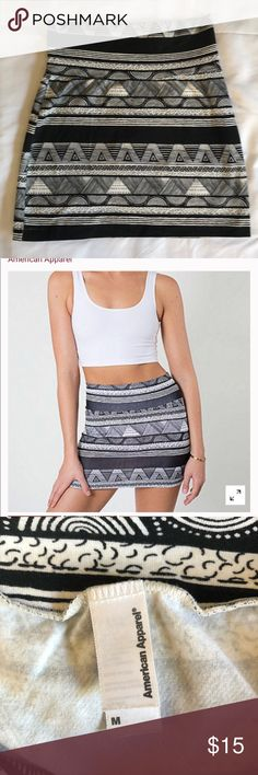 American Apparel Black Tribal Fitted Skirt Adorable black tribal mini skirt perfect with heels for a night out or paired with sandals for a day at the beach!  ✅ make an offer 💜 🚫 no trades and no lowball offers please 📦 all orders get shipped same day or next morning American Apparel Skirts Mini #beachapparel