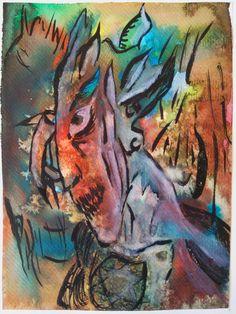 """Ilustración con mancha creativa. Mancha con acuarela y sal para después """"encontrar"""" el personaje oculto. Acuarela, tinta china, gouache."""