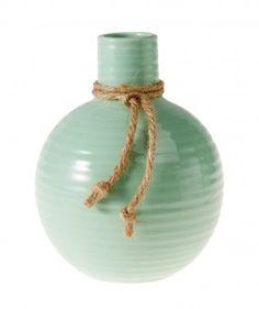 Vase Riff, mint, bauchig - Dekorative Vase aus Keramik.Material: Keramik
