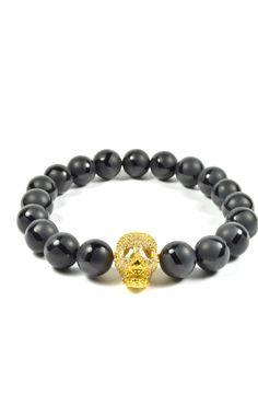 10mm Black Onyx and CZ Gold Filled Skull – Tag Twenty Two