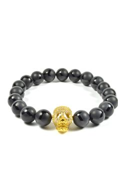10mm Black Onyx and CZ Gold Filled Skull – Tag Twenty Two