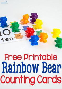 These free printable rainbow bear counting cards are a great way to introduce one-to-one correspondence & counting from Everyone loves rainbow bears! Bears Preschool, Preschool Colors, Numbers Preschool, Free Preschool, Math Numbers, Preschool Printables, Preschool Learning, Kindergarten Math, Preschool Activities
