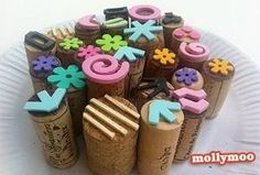 diy stamps made from wine corks: Molly Moo by melva