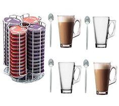 52 Tassimo T-Disc Coffee Capsule Holder With 4 Free Latte Glasses and Spoons: Amazon.co.uk: Kitchen & Home