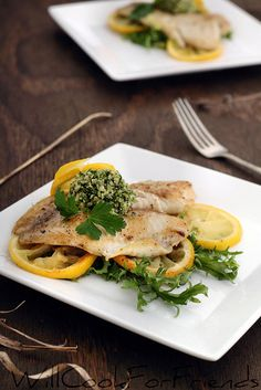 Tilapia with Arugula Walnut Pesto and Lemon - seafood simplicity - Will Cook For Friends