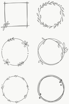 Bullet Journal Writing, Bullet Journal Ideas Pages, Bullet Journal Inspiration, Bullet Journal Frames, Doodle Drawings, Doodle Art, Doodle Frames, Wreath Drawing, Floral Drawing