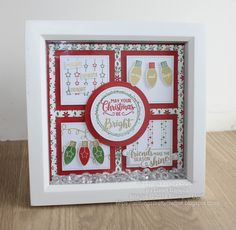 All Things Pretty Craftee: Merry Christmas Makes Diy Christmas Shadow Box, Christmas Box Frames, Christmas Ornament Crafts, Stampin Up Christmas, Christmas Signs, Christmas Projects, Box Frame Art, Scrapbook Cards, Scrapbooking