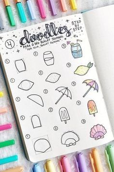 Need some super cute summer doodles for your bullet journal! These Doodle Art Bu. - Need some super cute summer doodles for your bullet journal! These Doodle Art Bullet Cute Doodles J - Art Journal Challenge, Art Journal Prompts, Doodle Art Journals, Journal List, Doodling Journal, Drawing Journal, Journal Layout, Bullet Journal Notebook, Bullet Journal Ideas Pages